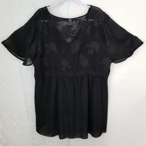 Torrid Black Blouse Short Sleeve